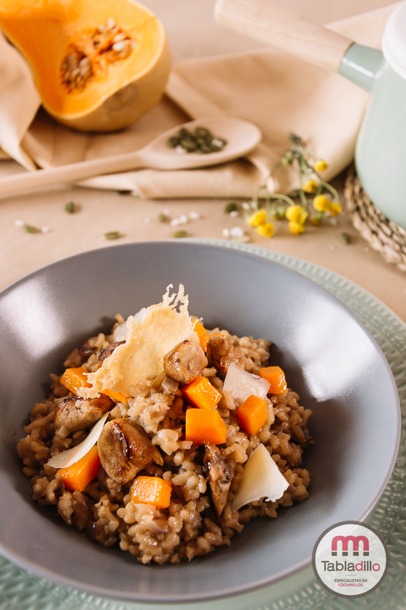 Risotto con cochinillo y calabaza